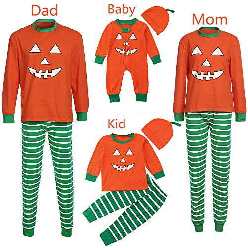 Seaintheson Matching Family Pajamas Halloween Costumes Long Sleeve Pumpkin Pajamas Outfits Sets Lovely Clothes -