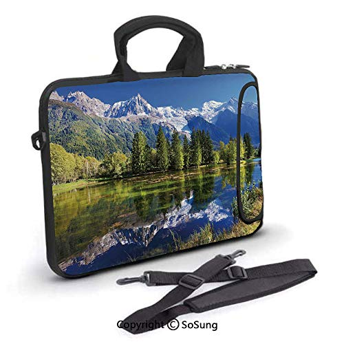17 inch Laptop Case,Snowy Mountains Evergreen Spruce Reflected in Lake City Park Chamonix France Neoprene Laptop Shoulder Bag Sleeve Case with Handle and Carrying & External Side Pocket,for Netbook/Ma