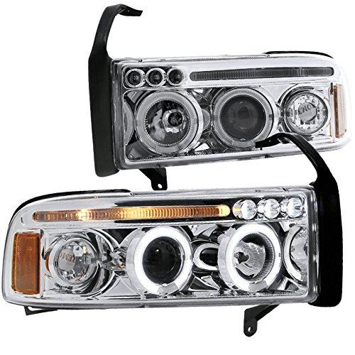 Spec-D Tuning 2LHP-RAM94-TM Dodge Ram 1500 2500 3500 Led Halo Chrome Clear Projector Head Lights