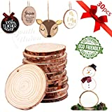 """YOUTH UNION 30Pcs 2.4""""-2.8"""" Unfinished Natural Wood Slices Craft Wood Kit Unfinished Predrilled with Hole Wooden Circles for Arts and Crafts Christmas Ornaments DIY Crafts (30Pcs 2.4""""-2.8"""")"""