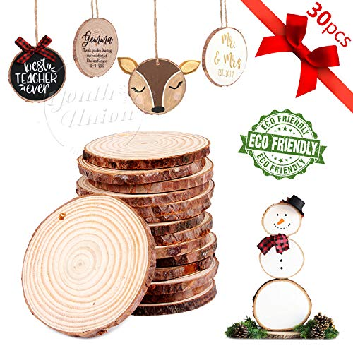 YOUTH UNION 30Pcs 2.4-2.8 Unfinished Natural Wood Slices Craft Wood Kit Unfinished Predrilled with Hole Wooden Circles for Arts and Crafts Christmas Ornaments DIY Crafts (30Pcs 2.4-2.8)