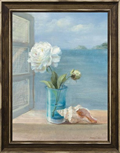 12x16 Coastal Florals I by Nai, Danhui: Distressed Classic Saddle 9393 (Glass Stained Peony)