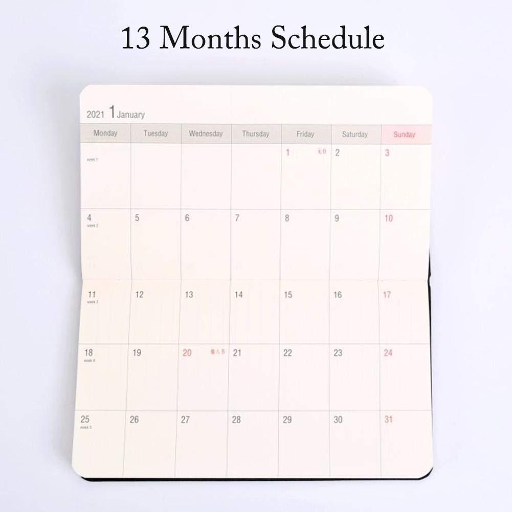 sanguiner Calendario Tascabile 2020 Pianificatore di Agenda mensile Portatile A6 6.7x 3.7 Diario Aziendale