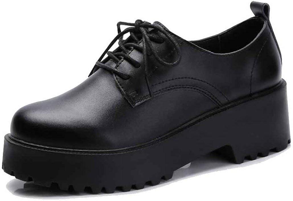 Zapatos de Plataforma para Mujer Moda Color sólido con Cordones Pisos de Punta Redonda Zapatos de Cuero Casuales para Mujer Zapatos Derby Femeninos Resistentes al Desgaste de 5 cm