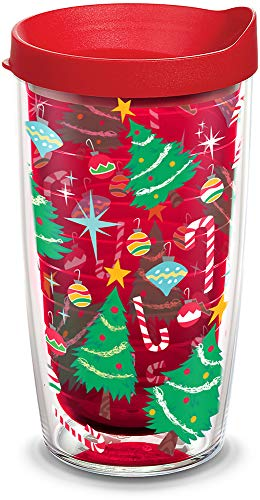 (Tervis 1308191 Christmas Tree Candy Cane Insulated Tumbler with Wrap and Red Lid)