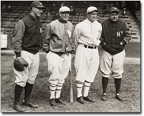 Babe Ruth Photograph (Lou Gehrig, Tris Speaker, Ty Cobb and Babe Ruth Baseball 8x10 Silver Halide Photo Print)