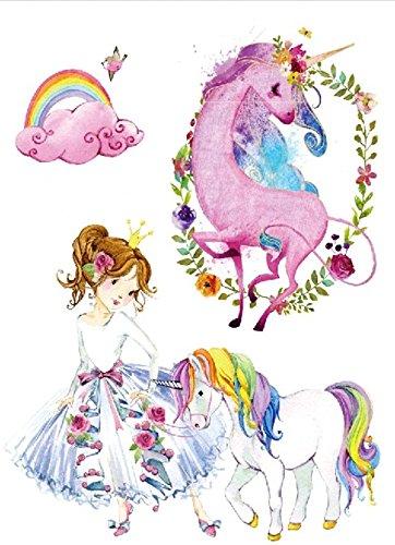 Unicornio y prizessin Tatuajes Multicolor Tattoo para pegar TH de ...