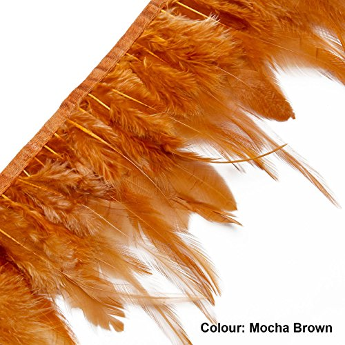 Marabou Feather Fur (Neotrims REAL Feather Flame Retardant Finish, Cock Plume Trimming Fringe 10-12 cms on Satin Ribbon, 12 Stunning Colours, Home Décor, Jewellery Making, Belts Decorative Trim.)
