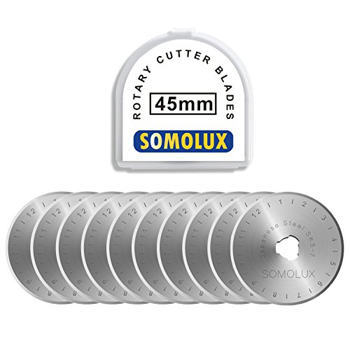 (Rotary Cutter Blades 45mm 10 Pack by SOMOLUX,Fits OLFA,Fiskars,DAFA,Dremel,Truecut Replacement, Quilting Scrapbooking Sewing Arts Crafts,Sharp and)
