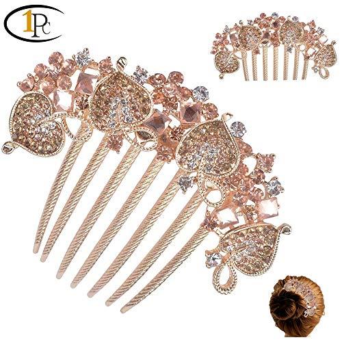 (FINGER LOVE France Luxury Pearl Rhinestone Floral Vantage Handmade French Twist Comb (Heart champaigne))