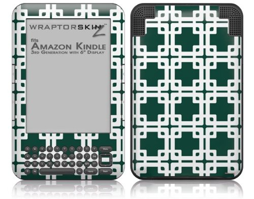 Boxed Hunter Green - Decal Style Skin fits Amazon Kindle 3 Keyboard (with 6 inch display)