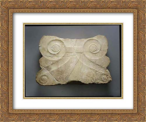 (Greek, Attic Culture - 24x20 Gold Ornate Frame and Double Matted Museum Art Print - Finial of a Marble Stele (Grave Marker))