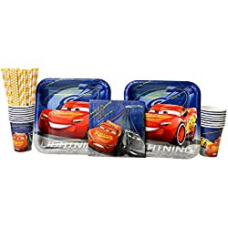 Cedar Crate Market Disney Cars Party Supplies Pack for 16 Guests - Straws, Dinner Plates, Luncheon Napkins, and Cups