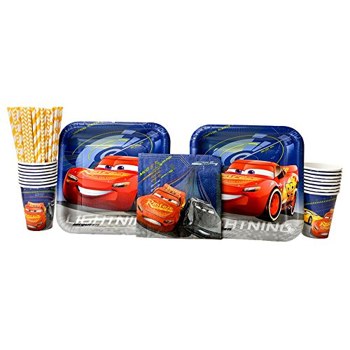 Cars Birthday Party Supplies Pack for 16 Guests| Straws, 16 Dinner Plates, 16 Luncheon Napkins, and 16 Cups | Celebrate Your Little One's Birthday With Lightning Mcqueen And The Gang! -
