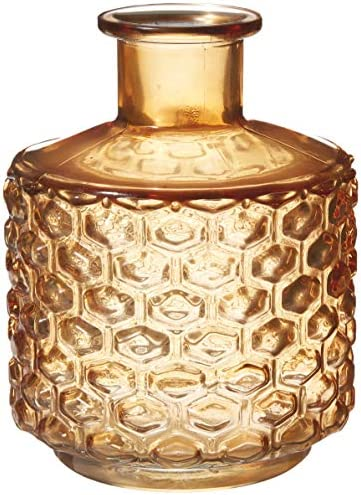 Bloomingville Transparent Glass Vase with Embossed Design, Brown