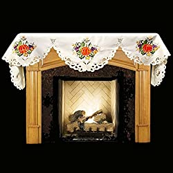 "19"" X 90"" Wide Fireplace Mantel Scarf with Fall Pumpkins, Grapes from Linens, Art and Things"