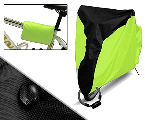 Heavy Duty Rain Cover - Trenztek Premium Oxford Fabric Heavy Duty Waterproof Bicycle Bike Rain Cover, Road Bike MTB Waterproof/Dust Proof/Snow Proof/UV Protective Cover Size L (Fluorescent Green)