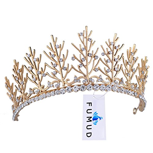 FUMUD Vintage Wedding Bridal Rhinestone pearl Gold Headband Crown Tiara Hair Accessories (Gold) -