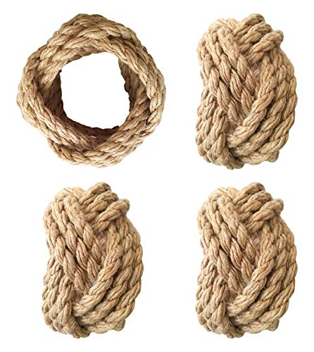YourKart Classic Braided Jute Set of 4 Napkin Rings (Natural) ()