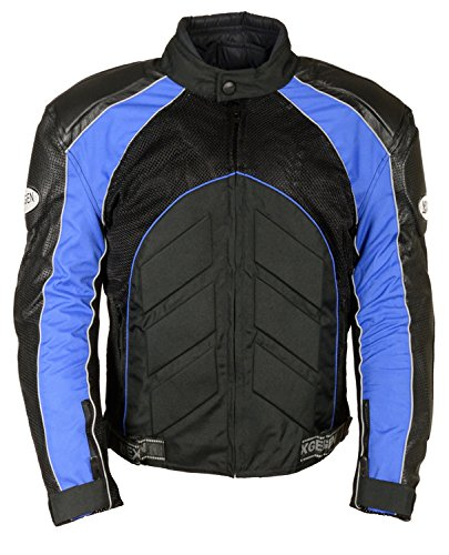 NexGen Men's Combo Leather/Nylon/Mesh Sport Bike Jacket (Black/Blue, Large)