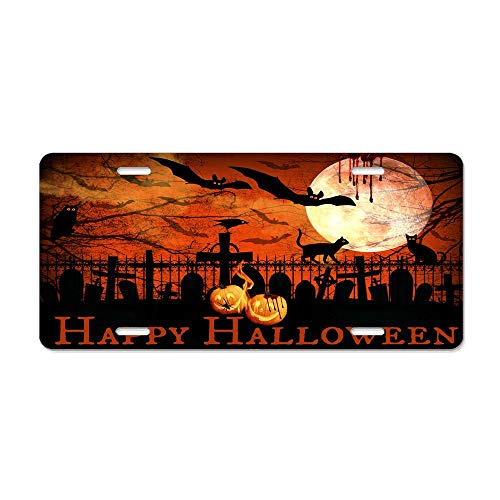 Kingsinoutdoor Happy Halloween Spooky Night Fence Custom License Plate, Novelty Front License Plate Holder Durable Metal Sign Car Tag 6