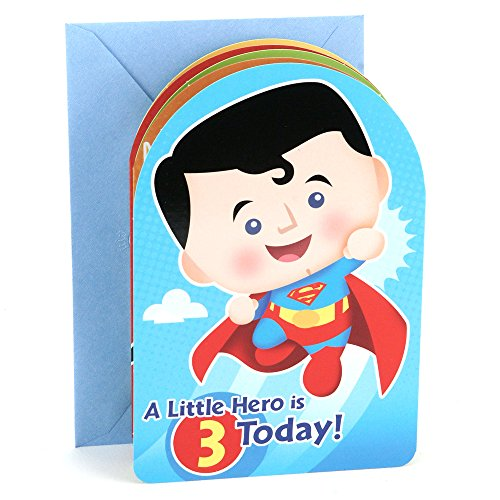 Hallmark 3rd Birthday Greeting Card for Boy (Superman, Batman, Iron Man, Green Lantern) (Batman Birthday Card)