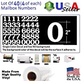 2'' White Color Custom Mailbox Numbers - Lot of 40 (4 of each number form 0 to 9) 2 inch tall, white Self Adhesive Vinyl Mailbox, Doors, Tool Box, Locker,Car,Truck,Address Decal Stickers (Bookman Bold)