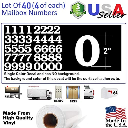 2'' White Color Custom Mailbox Numbers - Lot of 40 (4 of each number form 0 to 9) 2 inch tall, white Self Adhesive Vinyl Mailbox, Doors, Tool Box, Locker,Car,Truck,Address Decal Stickers (Bookman Bold) by Fast Life