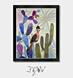 Sonoran Spring - Southwest, Southwestern, Road Runner, Arizona, Mexico, Tucson, Texas, Nevada, Cactus, Plants, Butterfly, Prickly Pear, Sonoran Desert, Colorful, Art, Artwork, Monarch Butterfly, Decor