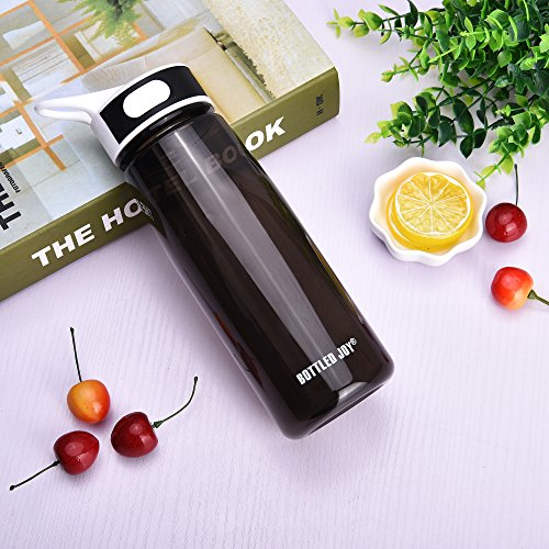 BOTTLED JOY Sports Water Bottle with Straw and Handle, 100% BPA Free DustProof Cap Water Bottles for Outdoor Hiking Camping 27oz 800ml