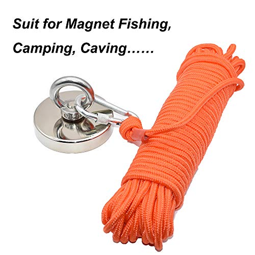 HomTop Magnet Fishing Rope with Carabiner - All Purpose Nylon High Strengte Cord Safety Rope - 65 Feet - Diameter 8mm - Approximately 1/3