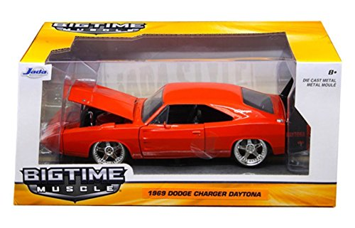 New 1:24 W/B BIG TIME MUSCLE - RED 1969 DODGE CHARGER DAYTONA Diecast Model Car By Jada Toys