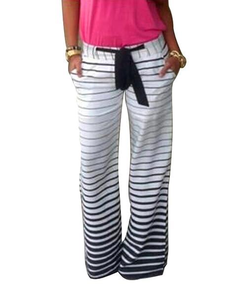 f67262b1da Zhiyuanan Mujer Pantalon Rayas con Cordón Anchos Pantalones Palazzo Fluido  Cómodo Casual Flojos Yoga Joggings Harem Pants  Amazon.es  Ropa y accesorios