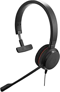 Jabra Evolve 20 SE Mono Headset – Microsoft Certified Headphones for VoIP Softphone with Passive Noise Cancellation – USB-Cable with Controller – Black