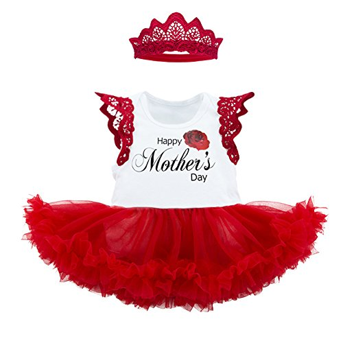 (AIKSSOO 2Pcs Mothers Day Baby Girl Outfit Tutu Skirted Onesie with Headband Set Size 73(6-12M) (Rose-1))