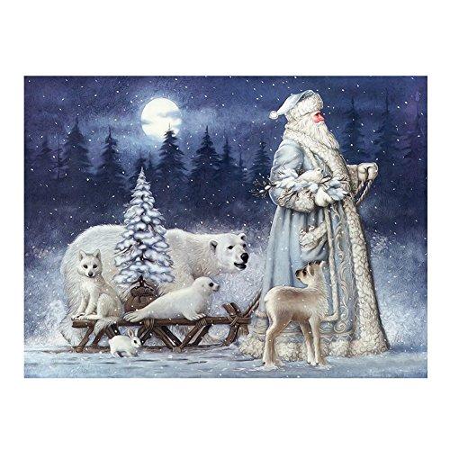 Whitelotous Santa Claus & Animals 5D Diamond Painting Embroidery DIY Paint-By-Diamond Kit Home Wall Decor (16 x 12 Inch)
