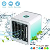 3 inch ac fan - Personal Air Cooler Fan, Portable Air Conditioner, Humidifier, Purifier 3 in 1 Evaporative Cooler, Mini AC USB Cooling Desktop Fan with 7 Colors LED Lights for Bedroom, Travel, Office, As Seen on TV