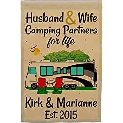 Happy Camper World Husband & Wife Camping Partners for Life, Personalized Camping Flag, Class A Motorhome Campsite Sign (Black/Gray)