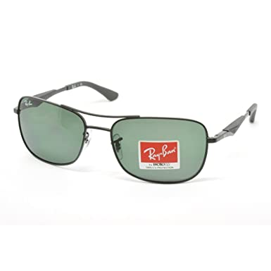 978789845c Image Unavailable. Image not available for. Colour  Ray Ban Men s Rb3515  Matte Black Frame Green Lens Metal Sunglasses ...
