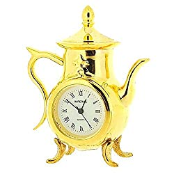 Miniature Analogue Gold Tone Metal Coffee Pot Novelty Collectors Clock IMP76