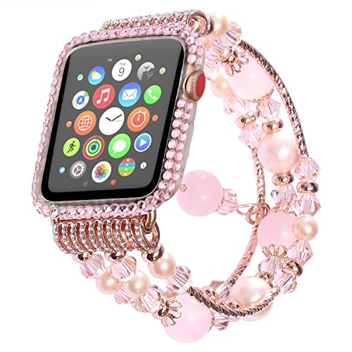 Band Pink Crystal (Handmade Elastic Luxury Crystal Beaded Bracelet Strap Band for Apple Watch,Replacement iWatch Strap Band for Apple Watch 38mm Series 2 (2016) Series 1 (2015) All Models (Pink))