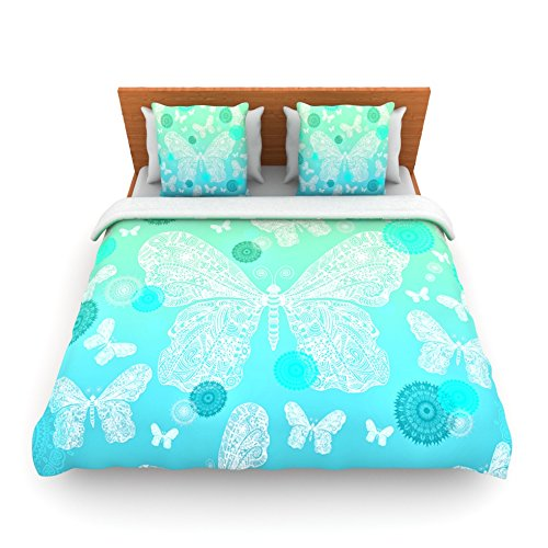 88 by 88-Inch MS2051ADC02 Kess InHouse Monika Strigel Butterfly Dreams Coral Pink White Queen Fleece Duvet Cover