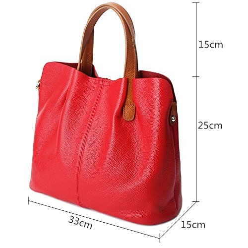 Shopping Satchel Leather Purse Bag Ladies Tote Lady Tote Casual Women by Handbag TOYU Capacity Shoulder Bag Bucket Black Genuine Red S Avq7dwBq