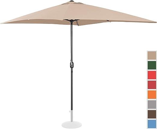 Uniprodo Sombrilla Grande Parasol De Jardín Uni_Umbrella_SQ2030CR (Pantalla Rectangular De 200 x 300 cm con Densidad De 180 g/m2, UPF 50+, Color Crema): Amazon.es: Jardín