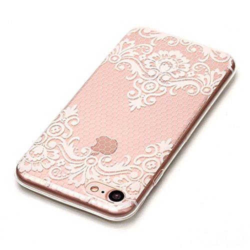 Crisant Case Cover For Apple iPhone 7 4.7'' (4,7''),fleurs blanches Premium gel TPU souple Très mince Transparent Clair Bumper silicone protection Housse arrière coque étui Pour Apple iPhone 7 4.7'' (