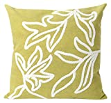 Liora Manne Mystic I Stitched Leaf Indoor/Outdoor pillow, Lime - 20'' Square