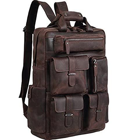 Polare Mens Handcrafted Real Leather Vintage Laptop Backpack Shoulder Bag Travel Bag Large - Vintage Leather Accessories