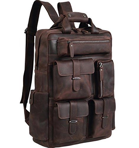 Polare Mens Handcrafted Real Leather Vintage Laptop Backpack Shoulder Bag Travel Bag (Large Genuine Leather Backpack Bag)