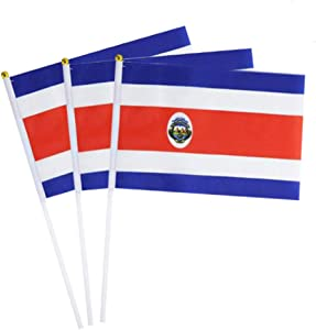 Costa Rica Flag Costa Rican Small Stick Mini Hand Held Flags Decorations 1 Dozen (12 pack)