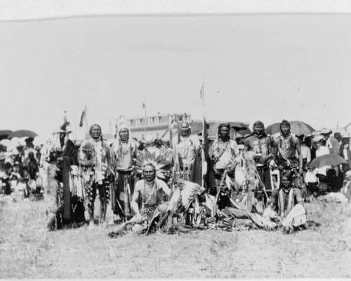 1907 photo Chief Running Wolf and party of Blackfoot Indians graphic. photograph shows a group of Blackfoot Indian men posed in traditional clothing at a Siksika fair. Vintage 8x10 Photograph - Ready to Frame